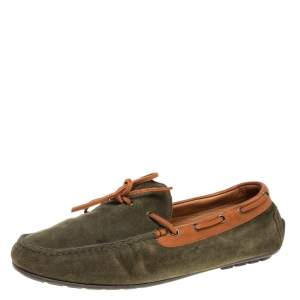 Ralph Lauren Green Suede and Leather Loafers Size 41