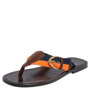 Ralph Lauren  Multicolor Canvas And Leather Thong Sandals Size 42