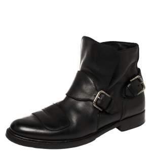 Ralph Lauren Black Leather Buckle Detail Ankle Boots Size 43