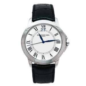 Raymond Weil White Stainless Steel & Leather Tradition 5476 Men's Wristwatch 39MM