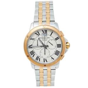Raymond Weil Cream Two-Tone Stainless Steel Tango Chronograph 4891 Men's Wristwatch 40 mm