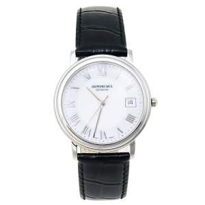 Raymond Weil White Stainless Steel Leather Tradition 5575/1 Men's Wristwatch 35 mm