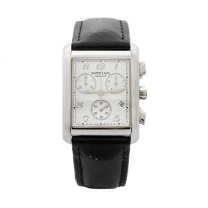 Raymond Weil White Stainless Steel Leather 4873 Men's Wristwatch 29 mm