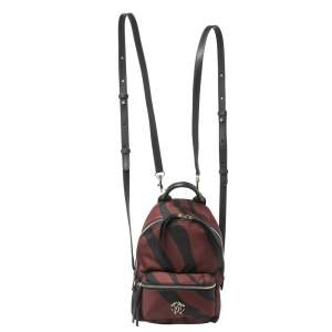 Roberto Cavalli Maroon/Black Zebra Print Fabric and Leather Mini Backpack