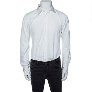 Roberto Cavalli White Cotton Monogram Button Front Shirt M
