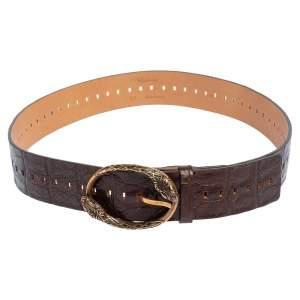 Roberto Cavalli Dark Brown Croc Embossed Leather Snake Detail Buckle Belt
