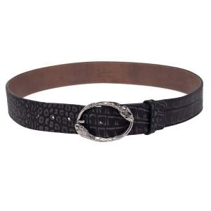 Roberto Cavalli Black/Grey Croc Embossed Leather Snake Detail Belt Buckle Belt