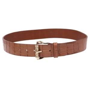 حزام روبرتو كافالي جلد نقشة التمساح بني بإبزيم 100 سم