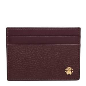 Roberto Cavalli Burgundy Leather Card Holder