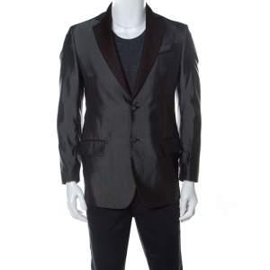 Roberto Cavalli Metallic Finish Wool Blend Contrast Lapel Blazer M