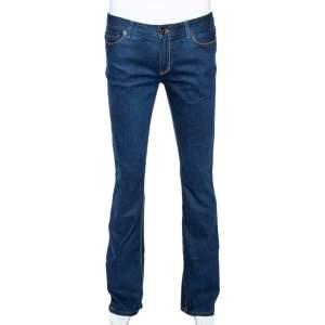 Roberto Cavalli Indigo Denim Embroidered Pocket Detail Straight Fit Jeans S
