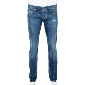 Roberto Cavalli Blue Medium Wash Distressed Denim Straight Fit Jeans L