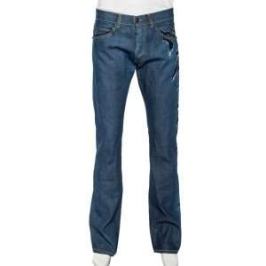 Roberto Cavalli Ink Blue Denim Slash Print Straight Fit Jeans L