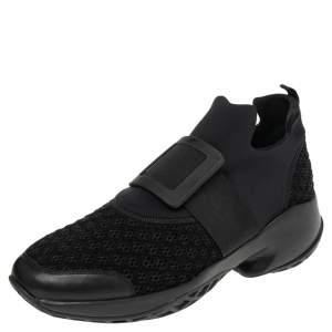 Roger Vivier Black Neoprene and Fabric Viv' Run Slip On Sneakers Size 44