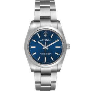 Rolex Blue Stainless Steel Oyster Perpetual 124200 Men's Wristwatch 34 MM