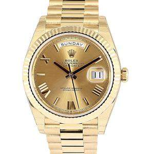 Rolex Champagne 18K Yellow Gold Day-Date Men's Wristwatch 40 MM