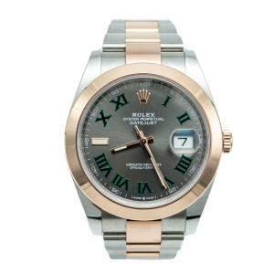 Rolex Datejust II Grey & Green 'Wimbledon' Dial Steel & Rose Gold Watch 41 MM