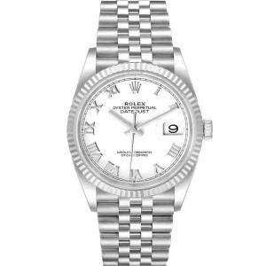 ساعة يد رجالية رولكس ديت جست 126234 ذهب أبيض عيار 18 وستانلس ستيل فضية 36 مم