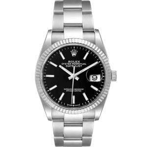 ساعة يد رجالية رولكس ديت جست 126234 ستانلس ستيل وذهب أبيض عيار 18 سوداء 36مم