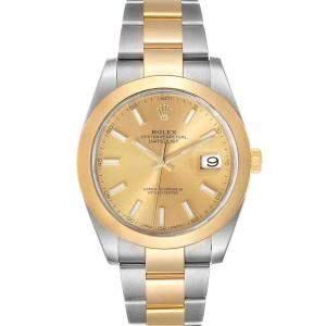 ساعة يد رجالية رولكس ديت جست 126303 ستانلس ستيل وذهب أصفر عيار 18 شامبانيا 41 مم