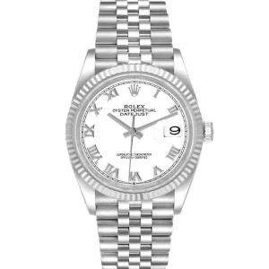 Rolex White 18K White Gold And Stainless Steel Datejust 126234 Men's Wristwatch 36 MM