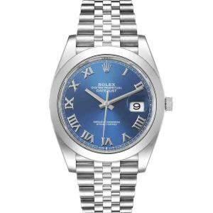 ساعة يد رجالية رولكس ديت جست 126300 ستانلس ستيل زرقاء 41 مم