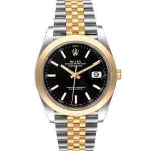 ساعة يد رجالية رولكس ديت جست 126303 ذهب أصفر 18 وستانلس ستيل سوداء 41 مم