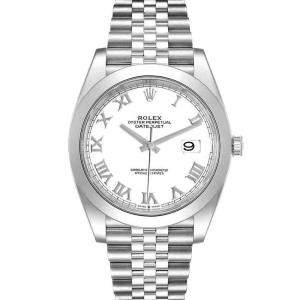 ساعة يد رجالية رولكس ديت جست 126300 ستانلس ستيل بيضاء 41 مم