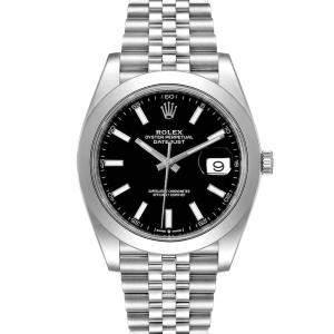 ساعة يد رجالية رولكس ديت جست II 126300 ستانلس ستيل سوداء 41 مم