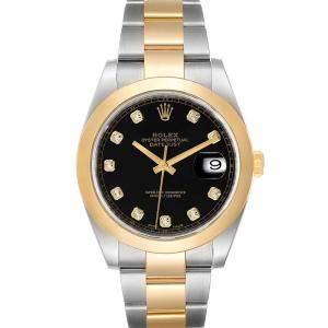 ساعة يد رجالية رولكس ديت جست 126303  ذهب أصفر عيار 18 وستانلس ستيل سوداء 41 مم