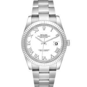 ساعة يد رجالية رولكس ديت جست 126334 ستانلس ستيل وذهب أبيض عيار 18 بيضاء 41 مم