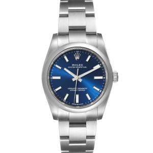 ساعة يد رجالية رولكس أويستر بيربتشوال 124200  ستانلس ستيل زرقاء 34مم