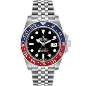 ساعة يد رجالية رولكس جي إم تي ماستر II بيبسي 126710 ستانلس ستيل سوداء 40مم