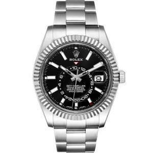 ساعة يد رجالية رولكس سكاي دويلر 326934 ستانلس ستيل وذهب أبيض عيار 18 سوداء 42مم