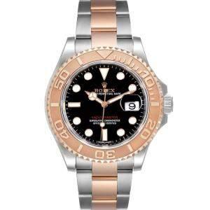 ساعة يد رجالية رولكس يخت ماستر 116621 ستانلس ستيل وذهب وردي عيار 18 سوداء 40مم