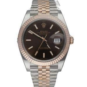 ساعة يد رجالية رولكس ديت جست 126331  ستانلس ستيل وذهب وردي عيار 18 بنية 41 مم