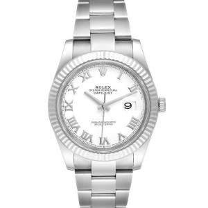 ساعة يد رجالية رولكس ديت جست 126334 ستانلس ستيل وذهب أبيض عيار 18 بيضاء 41مم
