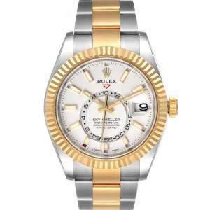 ساعة يد رجالية رولكس سكاي دويلر 326933 ستانلس ستيل وذهب أصفر عيار 18 بيضاء 42مم