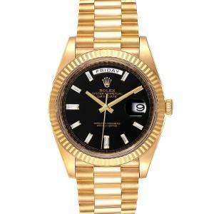 ساعة يد رجالية رولكس بريزيدنت داي ديت 228238 ذهب أصفر عيار 18 ألماس سوداء 40مم