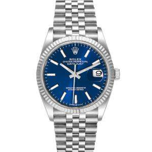 Rolex Blue 18K White Gold And Stainless Steel Datejust 126234 Men's Wristwatch 36 MM