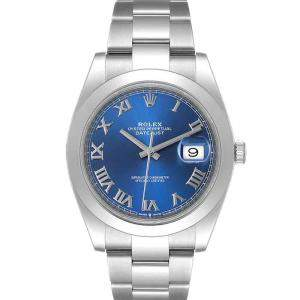 Rolex Blue Stainless Steel Datejust 126300 Men's Wristwatch 41 MM