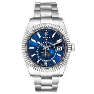 Rolex Blue 18K White Gold And Stainless Steel Sky-Dweller 326934 Men's Wristwatch 42 MM