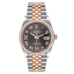 Rolex Black Diamonds 18K Rose Gold And Stainless Steel Datejust 126281 Men's Wristwatch 36 MM