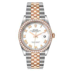 Rolex White 18K Rose Gold And Stainless Steel Datejust 126281 Men's Wristwatch 36 MM