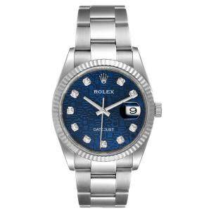 Rolex Blue Diamonds 18K White Gold And Stainless Steel Datejust 126234 Men's Wristwatch 36 MM
