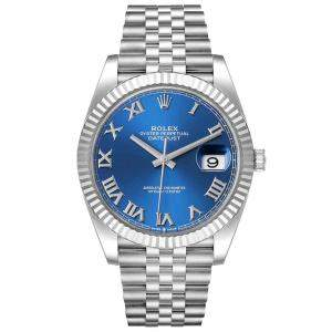 Rolex Blue 18K White Gold And Stainless Steel Datejust 126334 Men's Wristwatch 41 MM