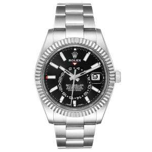 Rolex Black 18k White Gold And Stainless Steel Sky-Dweller 326934 Men's Wristwatch 42 MM