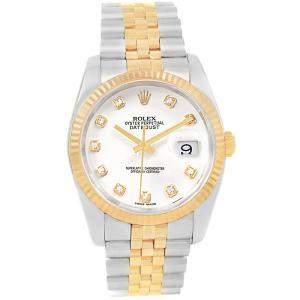 Rolex White 18K Yellow Gold and Stainless Steel Datejust Men's Wristwatch 36MM