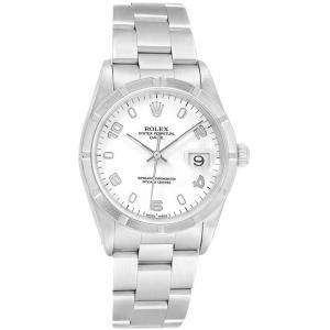 Rolex White Stainless Steel Date 15210 Men's Wristwatch 34MM