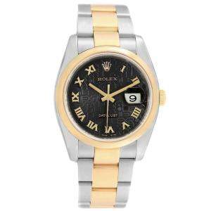 Rolex Black 18K Yellow Gold and Stainless Steel Datejust 116203 Men's Wristwatch 36MM